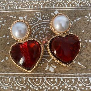 ruby & pearl vintage style earrings